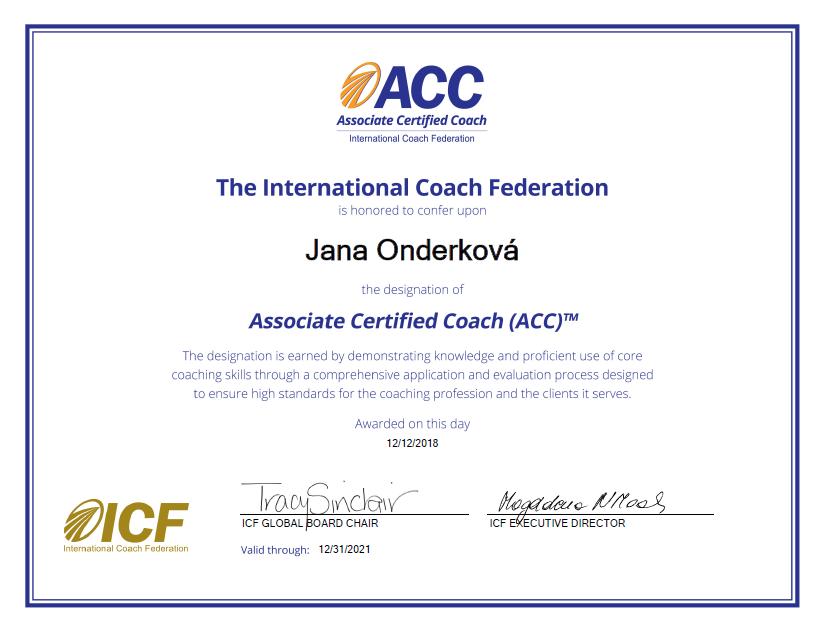 Koučovací titul ACC udělený federací koučů